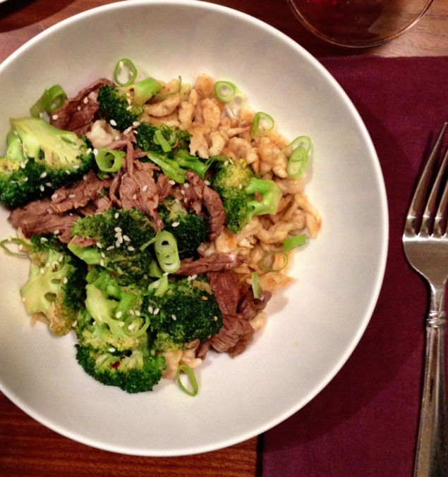 Beef and Broccoli over 5 Spice Spaetzle