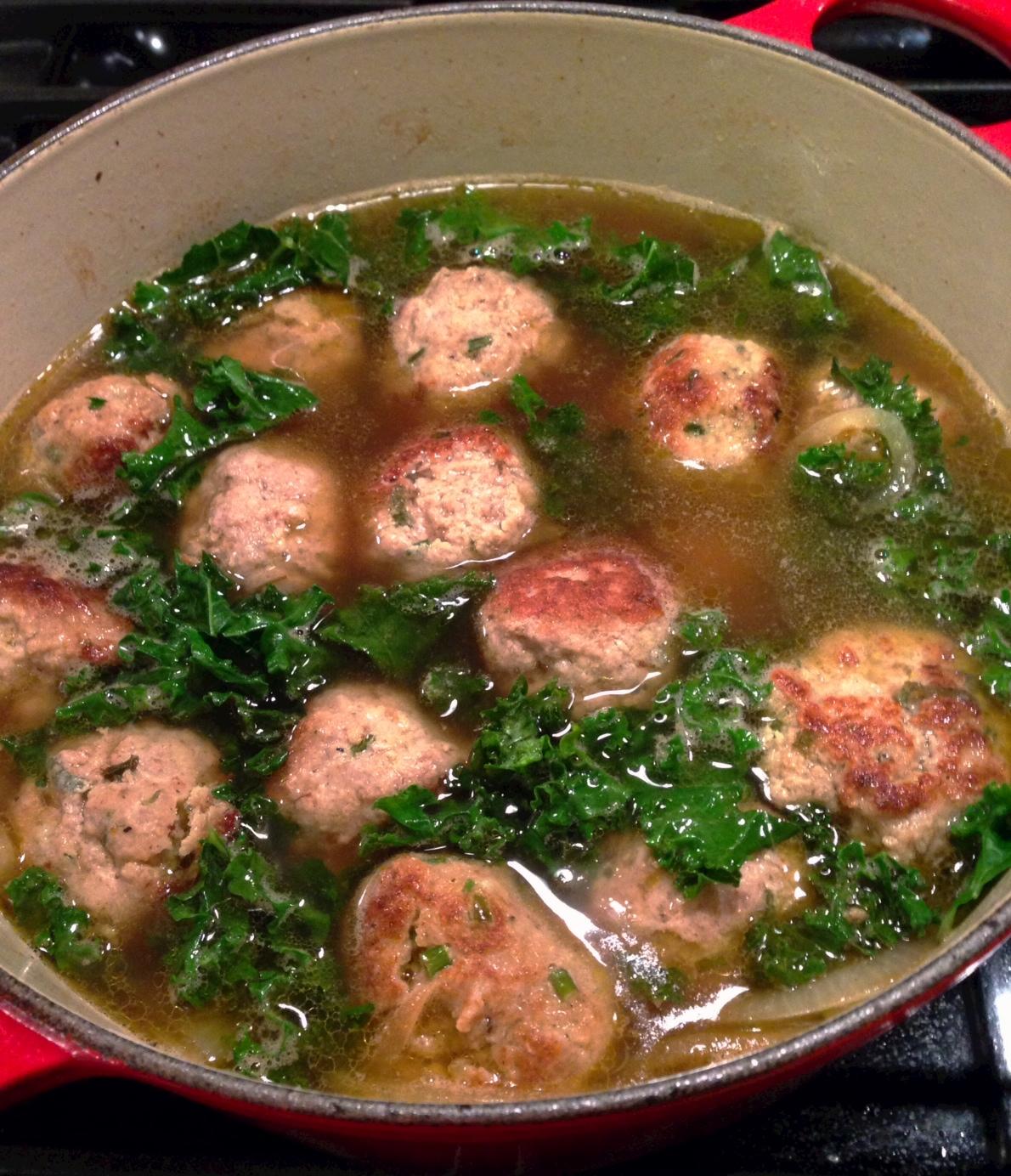 Turkey Meatball and Kale Soup