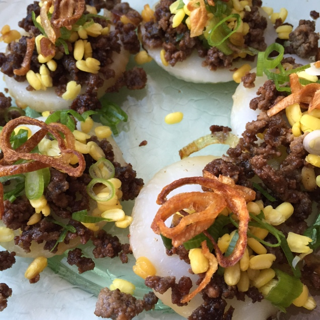 Vietnamese Rice Cakes with Beef, Mung Beans and Fried Shallots