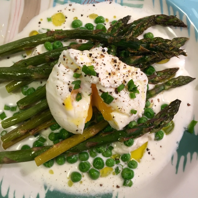 Asparagus, Pea and Burrata Salad with Poached Egg