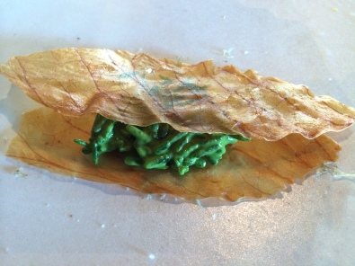 Dried cabbage leaf and samphire